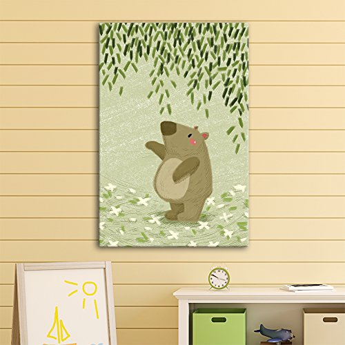 Cute Cartoon Animals A Tapir Under Green Leaves Kid's Room Wall Decor