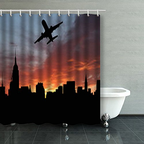 Shower Curtains Plane Departing Midtown Manhattan Sunset Illustration New York Jets 66Wx72L Inches Home Decorative Waterproof Polyester Fabric Bathroom Decor Bath ()