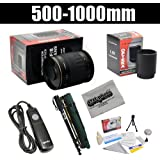 Opteka 500-1000mm f/8 High Definition Telephoto Mirror Lens Kit for Canon EOS 80D, 77D, 70D, 60D, 60Da, 50D, 7D, 6D, 5D, 5DS, 1DS, T7i, T7s, T7, T6s, T6i, T6, T5i, T5, T4i, SL2 Digital SLR Cameras