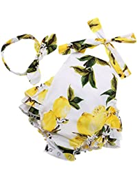 Baby Girl's Floral Print Ruffles Romper Summer Clothes...
