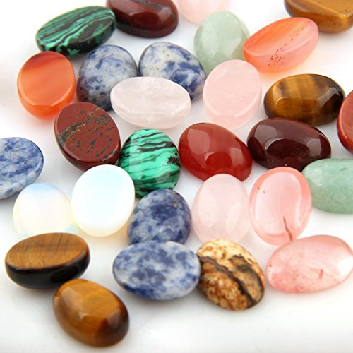 Pink Jade Heart Beads (Mutilcolor 12pcs 10x14mm Oval Teardrop Random Color CAB Cabochon Beads Crystal Quartz Stone Wholesale for Jewelry Making(No Holes))