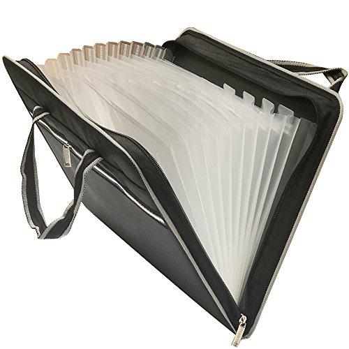 - HIHUHEN 13 Pockets Fabric Expanding File Folders Business Accordion Document File Paperwork Organizer Storage, A4 Letter Size, Zipper Closure (Folder Black ST)