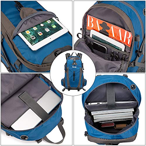 Sucipi Lightweight Hiking Backpack 40L Small Camping Travel Hydration Backpack Daypack for Men Women Blue