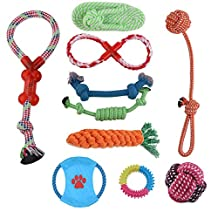 Dog Toys 10 Pack Gift Set Durable Chew Toy Set for Small and Medium Dogs