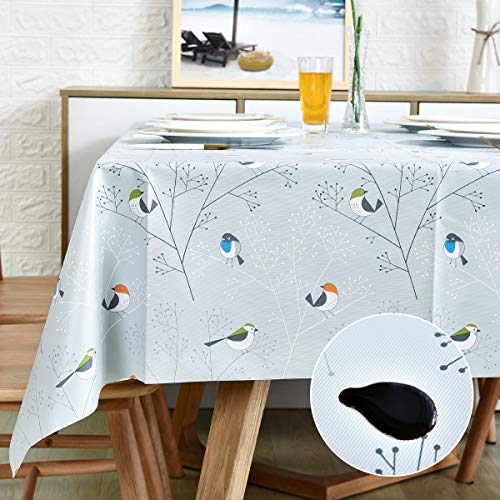 LOHASCASA Vinyl Oilcloth Tablecloth Spillproof Wipeable PVC Waterproof Plastic Party Oil Tablecloths for Small Coffee Table - 4Ft Bird Silver Grey Square Tablecloth 54 x 54 Inch