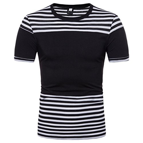 iLXHD Men's Casual Stripe Print O Neck Pullover Short Sleeve T-Shirt Top Blouse -