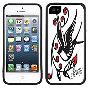 Swallow Sparrow Tattoo Handmade iPhone 5 5S Black Bumper Plastic Case