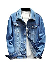HEFASDM Men's Basic Long Sleeve Button Down with Pockets Denim Jacket Coat