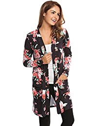 Women's Boho Floral Cardigan With Pocket Casual Long Sleeve Wrap Kimono Cardigan Coat Outwear