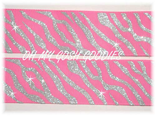 (Ribbon Art Craft Perfect Solution for Any Project Decoration 1 Yard 1.5 Pink Princess Silver Twinkle Glitter Zebra Grosgrain Ribbon 4 HAIRBOW Bow)