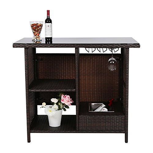 Peach Tree Outdoor Patio Wicker Bar Counter Table Rattan Garden Station with Shelves ()