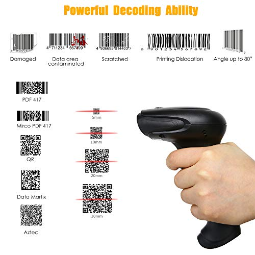 TaoHorse 2D Imager Barcode Scanner, Handheld USB Wired