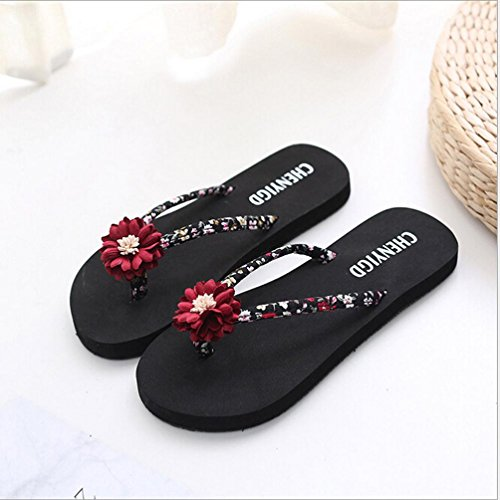 Sandales Tongs Femme Chaussures Flip Rouge Thongs Pantoufles Sandales Beach Bain de Femmes Amlaiworld Flops 0xf78xq