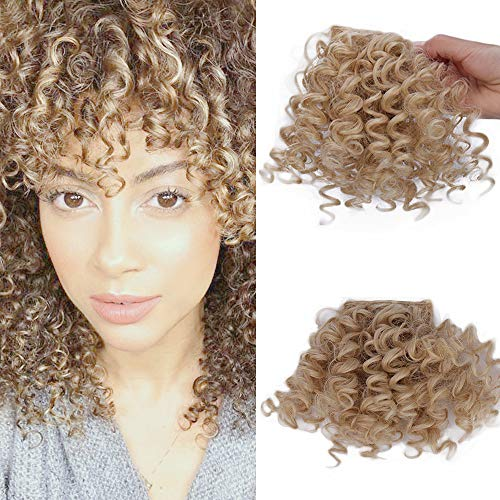 CTRLALT Kinky Curly Bangs Hair Natural Black Bangs Synthetic Afro Puff Drawstring Ponytail Hair Extensions Clip in Hair For Black Women (27-613 bangs) (27 Piece With Curly Hair On Top)