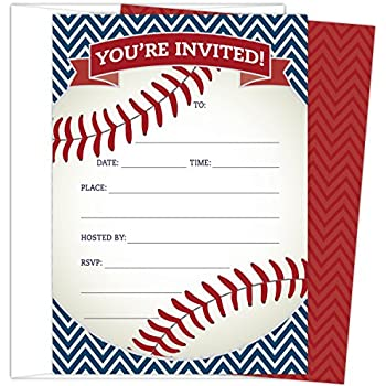 Amazoncom Baseball Party Invitations 20 Count With Envelopes