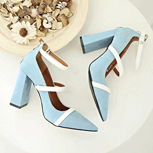 LvYuan-mxx Sandalias de las mujeres / verano y la primavera / alrededor de la hebilla / talón grueso / boca puntiaguda dedo del pie superficial / Oficina y Carrera / Vestido / Casual / zapatos de tacó BLUE-37