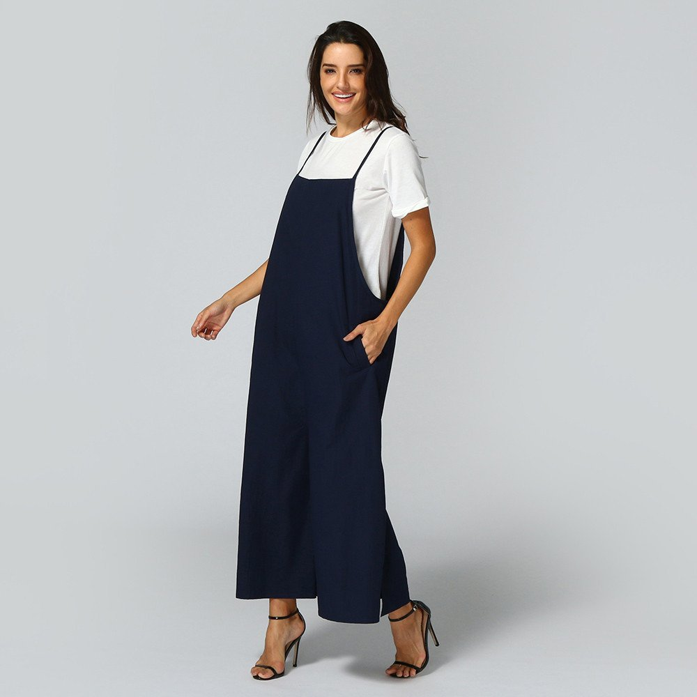 Jumpsuits for Women Loose Overall Dungarees Baggy Sleeveless Cotton Linen Playsuit Suspender Bib Wide Leg Overalls Rompers Long Pants Plus Size L-5XL