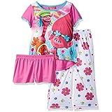 AME Little Girls' Trolls 3-Piece Pajama Set, Pink, 6
