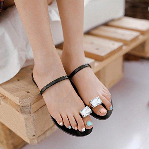 Plage Sandales Noir Culater® Strass EU de Plat Femmes 41 Antidérapant Pantoufle d'été Talon Chaussures AAxqvwEOT