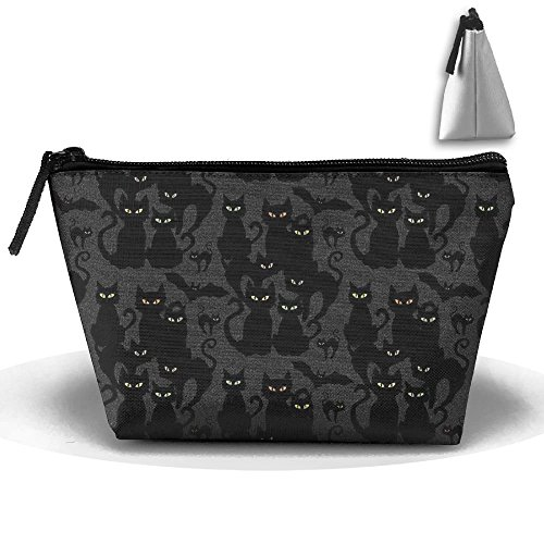 SDEYR79 Travel Makeup Black Halloween Cats Eyes On You Cosmetic Case Organizer Portable Artist Storage Bag Toiletry Jewelry Bag