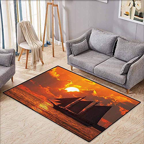 Living Room Area Rug,Sailboat Decor,A Boat Sailing in Front of A Sunset in Key West,Extra Large Rug,4'11