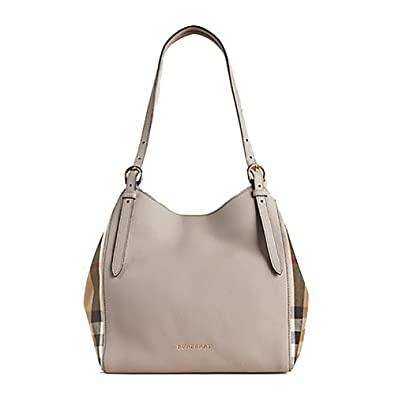 15d5722f2f4c Tote Bag Handbag Authentic Burberry Small Canter in Leather and House Light  Grey Melange Made in