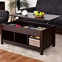 Lift Top Coffee Table with Hidden Storage Compartment - Coffee