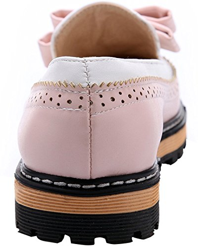 Womens Leather Oxford Shoes BEAUTOSOUL-Closed Toe-Low Heel-Bow Pink bNOjqaufli