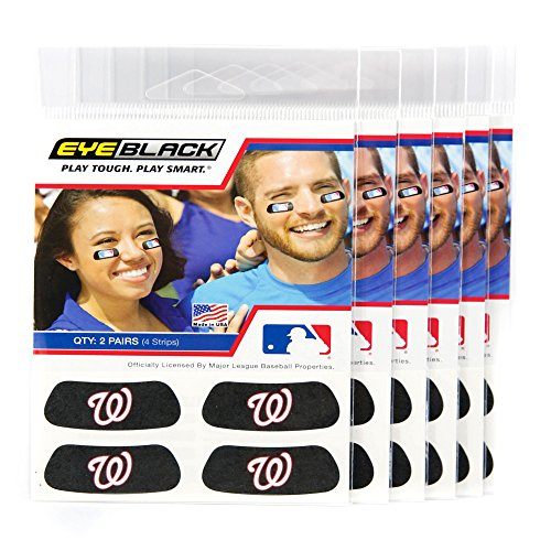 (24 Strips) Eye Black - Washington Nationals MLB Eye Black Anti Glare Strips, Great for Fans & Athletes on Game Day (Player Washington Nationals)