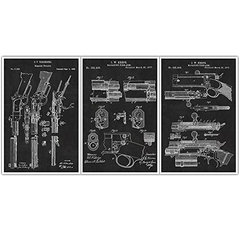 - Barrel, Exit Chamber, Firing Mechanism Patent Wall Art Rifle Patent Poster Set of 3 - Weapons Blueprints - Patent Prints - Poster Art