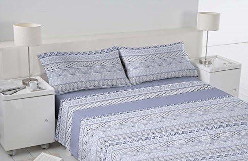 Mas Relax Linici, Juego de sabanas cama de 150 compuesto por bajera, encimera y funda de almohada, Poliester-Algodon, Azul, 150: Amazon.es: Hogar
