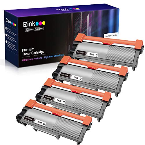 E-Z Ink (TM) Compatible Toner Cartridge Replacement For Brother TN630 TN660 High Yield To Use With HL-L2300D DCP-L2520DW DCP-L2540DW HL-L2360DW HL-L2320D HL-L2380DW MFC-L2707DW Printer(Black, 4 Pack) ()