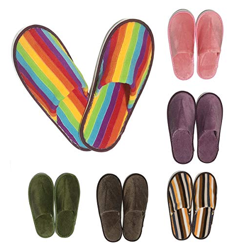AllBeauty Spa Slippers, 6 Pairs 6 Colors Rainbow Slippers House Indoor Slippers Closed Toe Hotel Spa Slippers for Women and Man Non-Slip Slippers for Hotel, Home, Guest Use (6 Colors/6 Pairs)