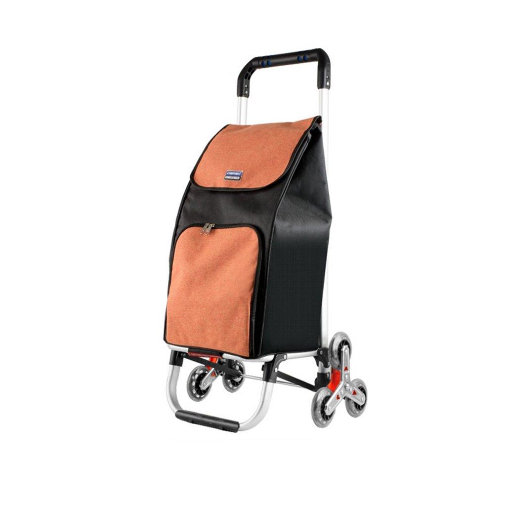 小型引っ張りカート手押し車トロリー折りたたみポータブルクライミング階段ショッピングカート荷物カートアルミ棒トレーラーハンドトラック 使いやすい (色 : Orange) B07M63XN4V Orange