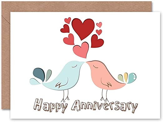 Joyeux Anniversaire Valentines Love Birds Couple Carte De Vœux Vierge Amazon Ca Maison Et Cuisine