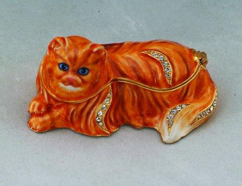 - PTC Enamel and Jeweled Orange Persian Cat Jewelry/Trinket Box Figurine
