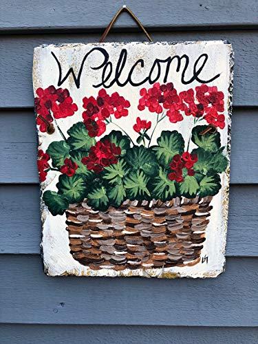 MaxwellYule Spring Door Decor Hand Painted Slate Spring Decor Geraniums Welcome Sign Welcome Plaque Spring Door Hanger