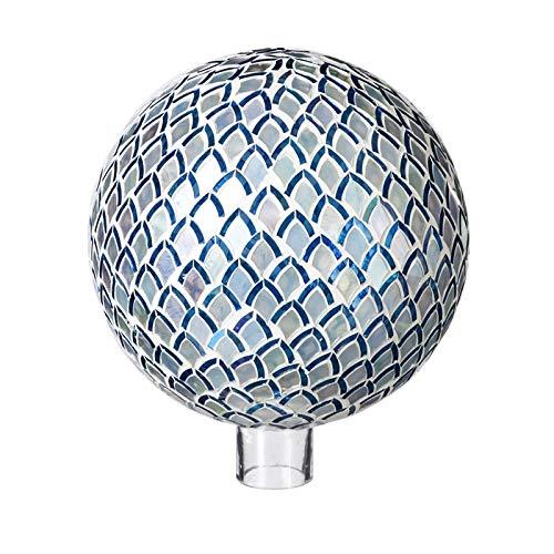 (Evergreen Garden Blue Mosaic Petals 10 inch Glass Gazing Ball)