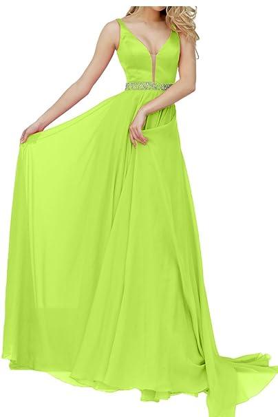 Charm novia mujer vestido Cuello En V corte tren de caída asimétrica vestidos de fiesta Verde