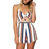 L'ananas Women Summer Jumpsuits Fashion Stripe Pattern Patchwork Backless Bowknot Tie Strapless Short Overalls Playsuits (CN-M/US-4, Blue)