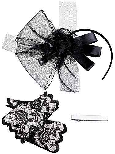 Black Cocktail Hat Fascinator Hair Clip Mesh Feather Headband, Fingerless Lace Gloves Short Floral Lace Gloves for Tea Party Wedding Accessories]()