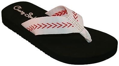 31c90ebe899d Cocomo Soul Baseball Fabric Flat Stitch Flip Flops (6) White