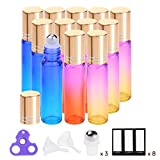 Essential Oil Roller Bottles by PrettyCare ( 12 pack Rainbow Color Glass Bottle 10ml, 24 Pieces Labels, 3 Extra Roller Balls, Opener, 2 Funnels ) Roller Balls for Essential Oils, Roll on Bottles