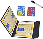LHIABNN Foldable Leather Football Soccer Magnetic Tactic Marker Coaching Clipboard with Zipper and Marker Pen