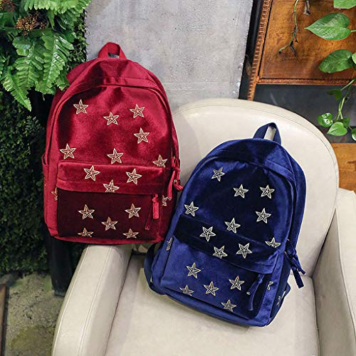 Bag Pink Shoulder Travel Women Backpack Star Embroidery Tyjie Girls School Rucksack Velvet Ha67cqwB