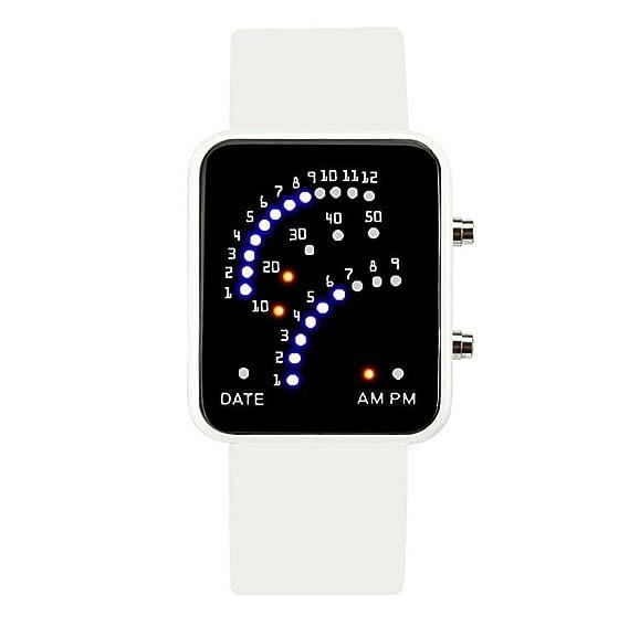longqi reloj Fashion LED Digital reloj de pulsera con pantalla de arco para los estudiantes hombres y mujeres uso diario: Amazon.es: Relojes