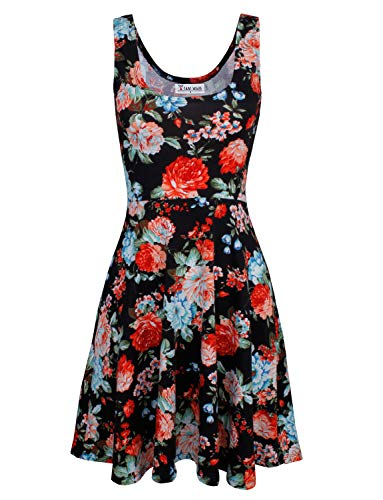 affordable TAM WARE Womens Casual Fit and Flare Floral Sleeveless Dress TWCWD054-BLACK-US M