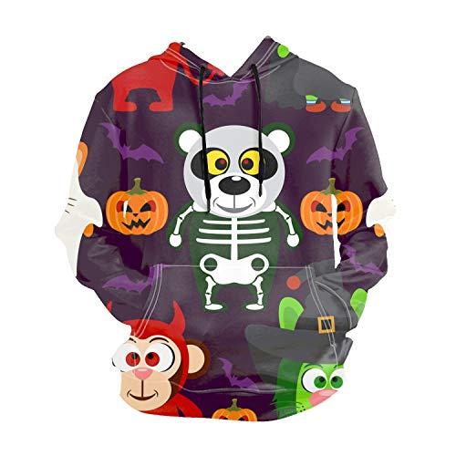 Halloween with Animal Mens Long Sleeve Hoodie Sweatshirt Print Sweatshirt Jumper Hooded Pullover Tops Blouse -