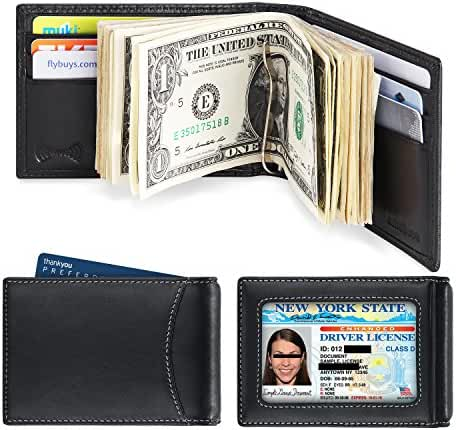 amelleon Men's RFID Blocking Leather Wallet – Front Pocket Bifold Wallet With Money Clip