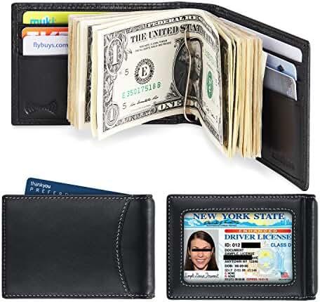 amelleon Men's RFID Blocking Leather Wallet – Front Pocket Bifold Wallet With Money Clip